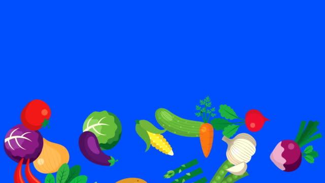vídeos de stock e filmes b-roll de cartoon vegetables falling in alpha channel - saladeira