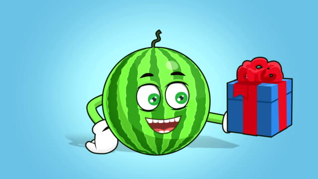 Cartoon Watermelon Face Animation Gift Box In Hand With Alpha Matte