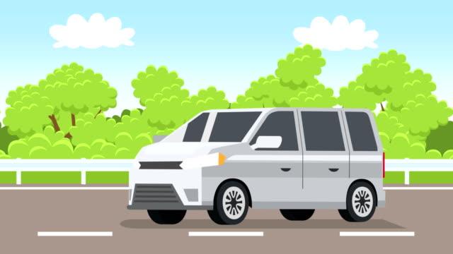 cartoon weißen minibus auto flach animation fahren entlang der autobahn - drive illustration stock-videos und b-roll-filmmaterial