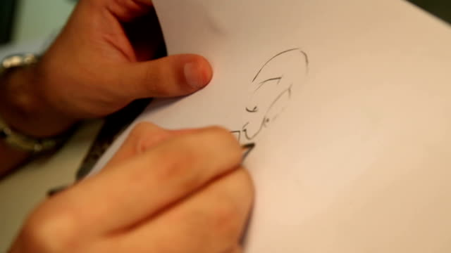 Cartoonist Drawing a Character video