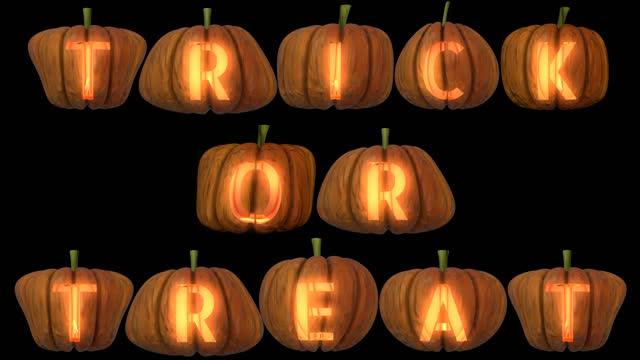 lettere di zucca scolpite che formano il trucco o il trattamento del testo - decorazione festiva video stock e b–roll