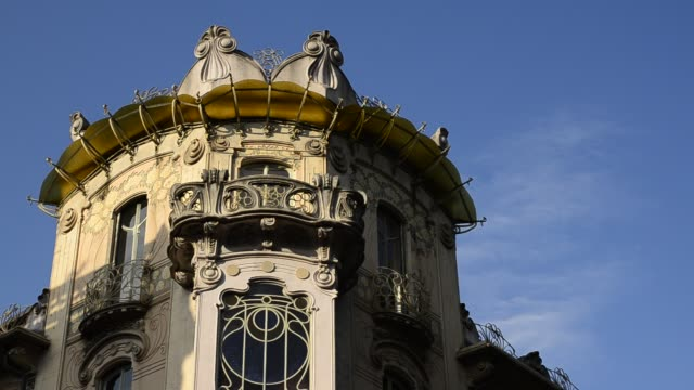 Casa Fenoglio Lafleur is a historic building in Turin Turin, Piedmont region, Italy. 11 May 2018. Casa Fenoglio Lafleur is a historic building in Turin, emblem of the city's Art Nouveau style. Movement from right to left of the video. bay window stock videos & royalty-free footage