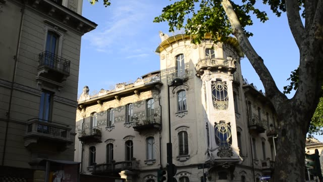 Casa Fenoglio Lafleur is a historic building in Turin Turin, Piedmont region, Italy. 11 May 2018. Casa Fenoglio Lafleur is a historic building in Turin, emblem of the city's Art Nouveau style. Static framing. bay window stock videos & royalty-free footage