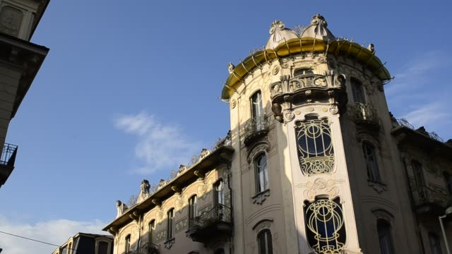 Casa Fenoglio Lafleur is a historic building in Turin Turin, Piedmont region, Italy. 11 May 2018. Casa Fenoglio Lafleur is a historic building in Turin, emblem of the city's Art Nouveau style. Movement from left to right of the video. bay window stock videos & royalty-free footage