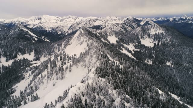 Cascade Mountain Range Aerial Covered in Winter Snow video