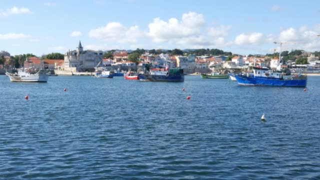 Cascais, Portugal Bay with fishing boats and seagulls