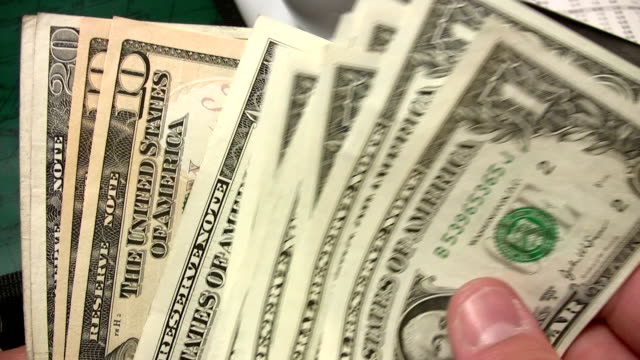 Cash counting - american dollars video