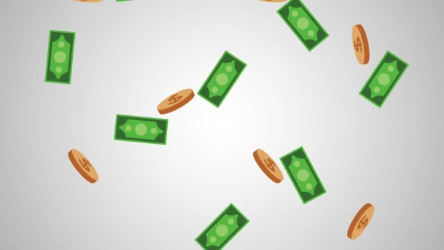 Cash falling background HD animation
