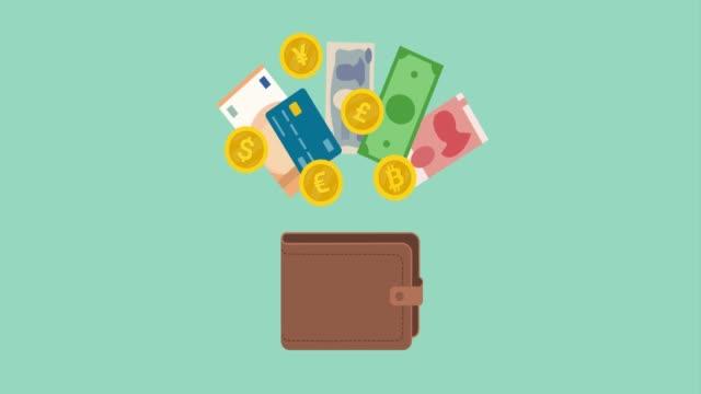 現金和錢包 - 銀包 個影片檔及 b 捲影像