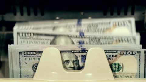cash money. dollar bills counter. - money stok videoları ve detay görüntü çekimi