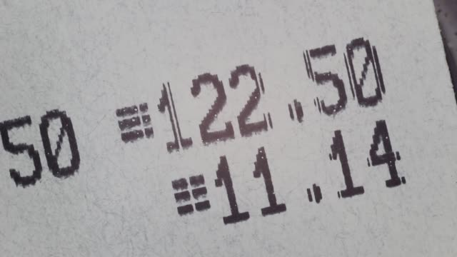 cash register receipt close up - scontrino video stock e b–roll