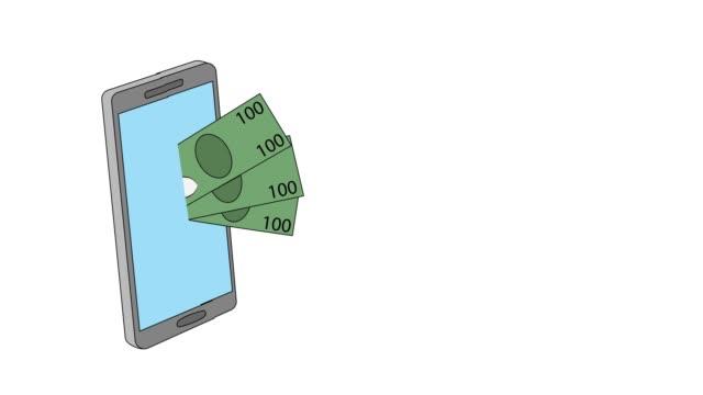 wypłaty gotówki przez telefon. płatności kartą kredytową. ilustracji wideo. - credit card filmów i materiałów b-roll