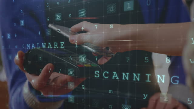 Cashier scanning a bar code from a phone 4k