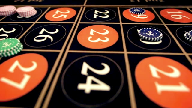 casino: roulette players bet close-up video