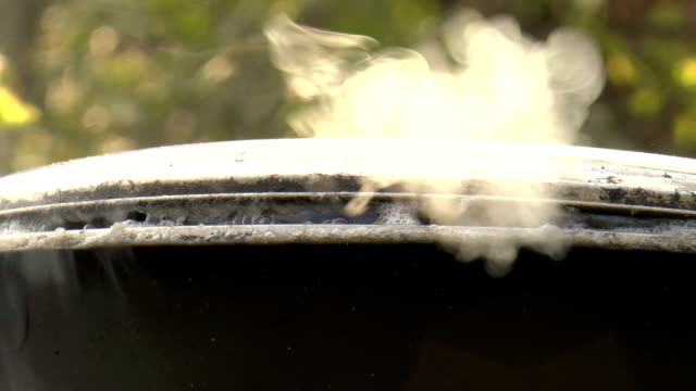 Casserole with boiling water