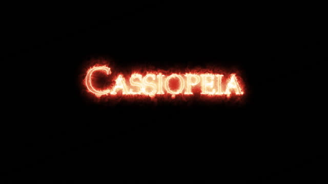 cassiopeia written with fire. loop - mitologia video stock e b–roll