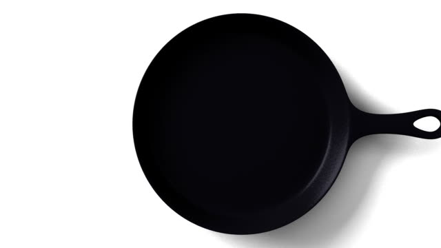 Cast iron skillet on white background 3DCG render animation. frying pan stock videos & royalty-free footage