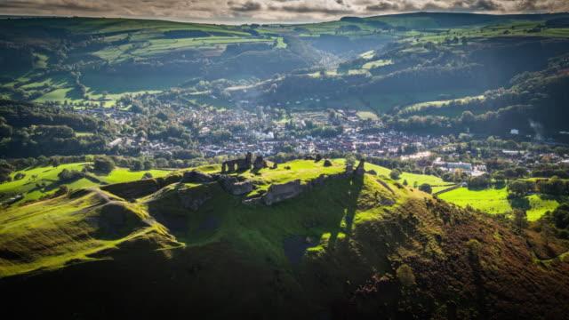 AERIAL: Castell Dinas Bran, Crow Castle, Llangollen
