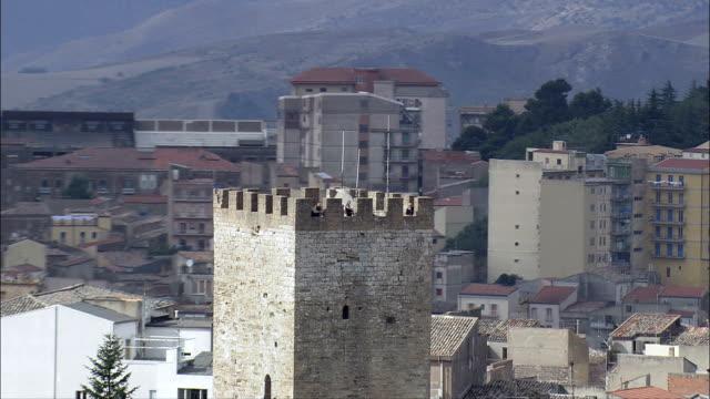 Castillo Di Lombardia, Enna  - Aerial View - Sicily, Province of Enna, Enna, Italy video