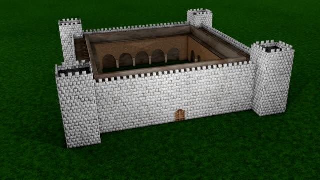 castle animation - ancient white background bildbanksvideor och videomaterial från bakom kulisserna