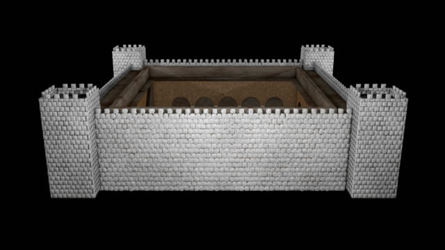 castle modell animation - ancient white background bildbanksvideor och videomaterial från bakom kulisserna