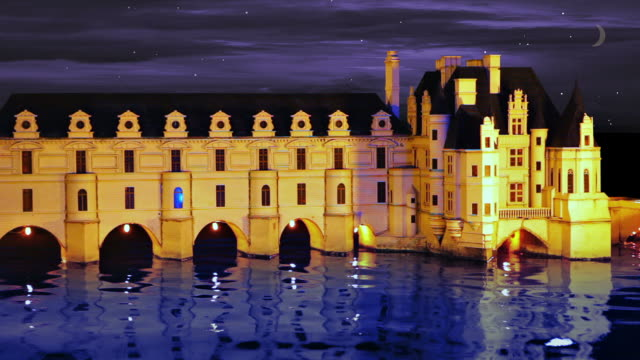 Castle on river in night video