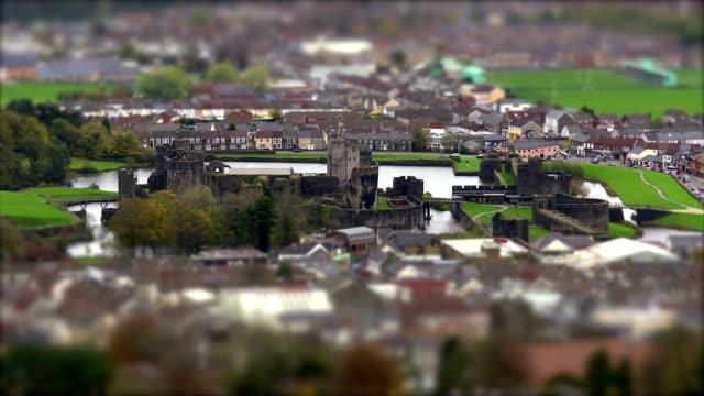 Castle Ruins in Town Centre. Tilt Shift Timelapse video