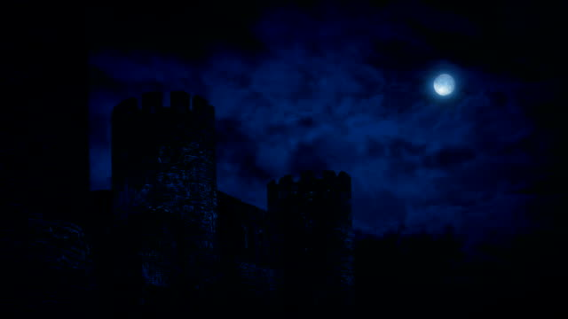 Castle Wall At Night With Full Moon video