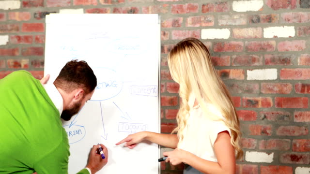 Casual business team brainstorming together video