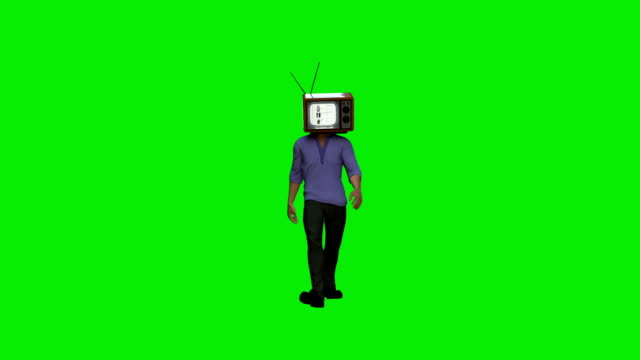 Casual man with a TV head, against Green Screen Casual man with a TV head, against Green Screen alpha channel stock videos & royalty-free footage