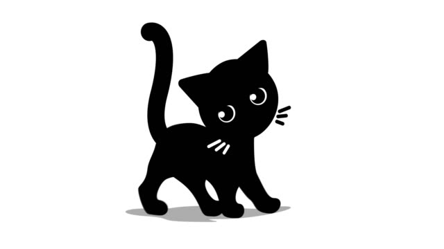 cat going Animation of black cat, cute kitten going. clip art stock videos & royalty-free footage