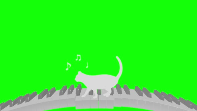 Cat silhouette Piano curve walk rhythm riding tempo 120 2 beats loop pattern B