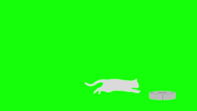 Cat silhouette Robot vacuum cleaner chase run loop pattern B