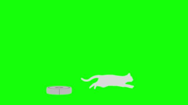 Cat silhouette Robot vacuum cleaner escape run loop pattern B