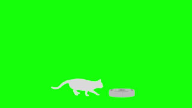 Cat silhouette Robot vacuum cleaner follow walk loop pattern B