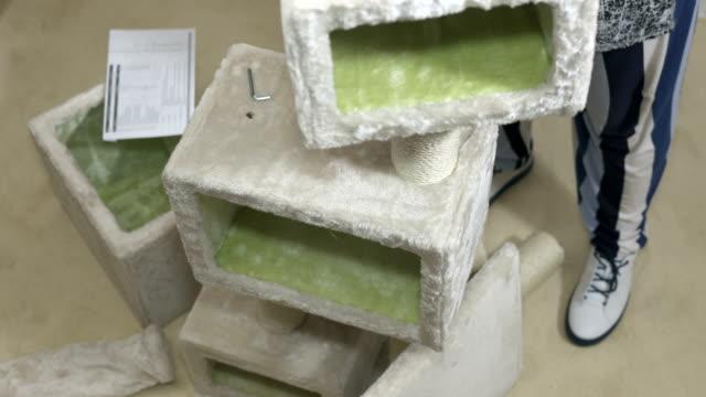Cat tree house condo assembly video