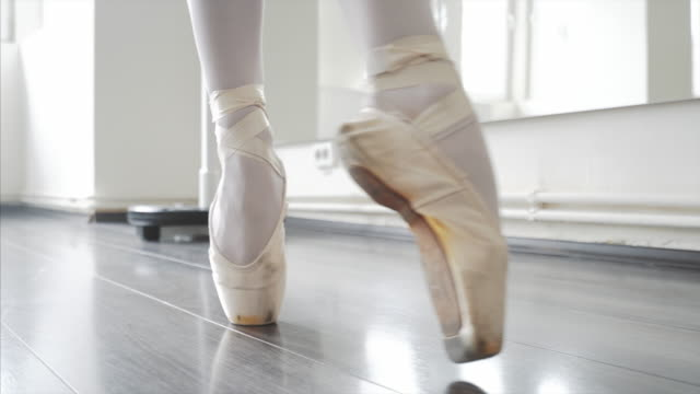 Cat walk in ballet shoes. video
