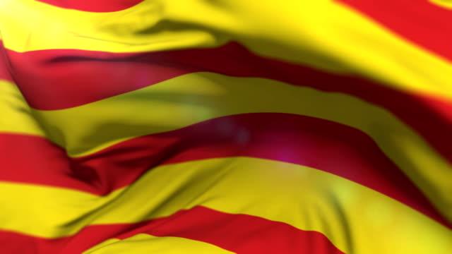 catalonia flag waving at wind, loop - lleida стоковые видео и кадры b-roll
