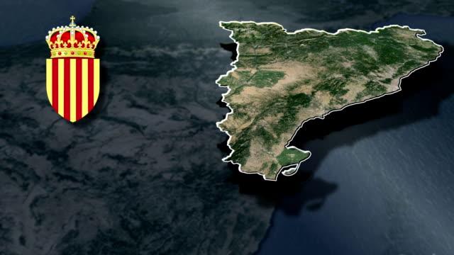 каталония белый щит герба анимация карта - lleida стоковые видео и кадры b-roll