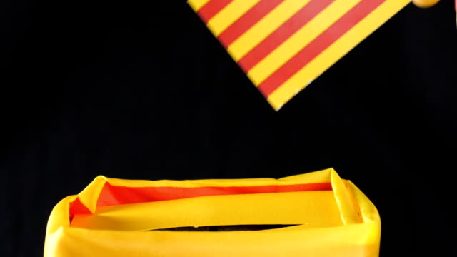 Catalonian Hand drop flag in box with Bulletin. video