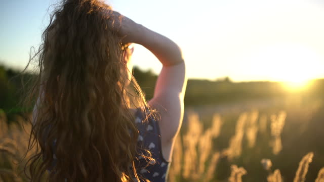 Catching sun rays Rear view of a young, long haired woman standing in the grass meadow, watching the sunset and touching her hair human hair stock videos & royalty-free footage