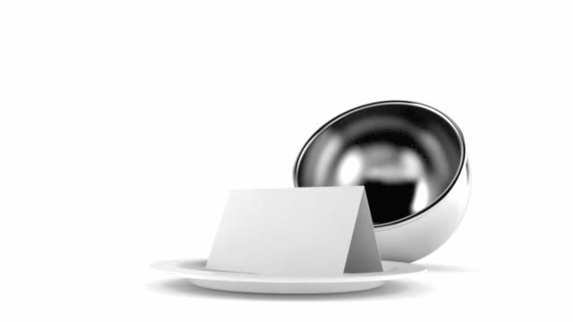 Catering dome with blank card Catering dome with blank card isolated on white background menu stock videos & royalty-free footage