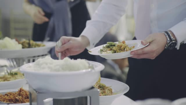 catering food in wedding reception - buffet video stock e b–roll
