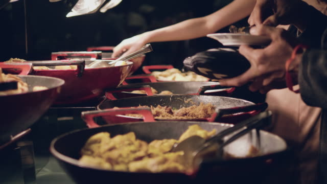 catering food - buffet video stock e b–roll