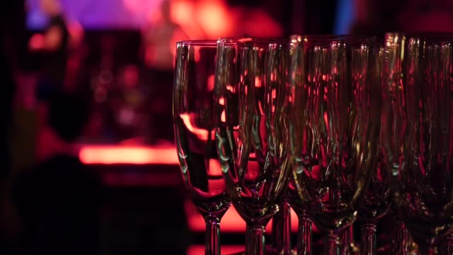 Catering in restaurant. Champagne glasses. video