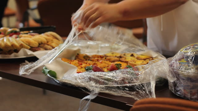 Catering service, breakfast tray for business meeting video