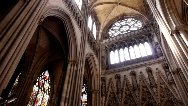 cathedral interior in rouen, normandy france, pan - cathedrals stock videos & royalty-free footage