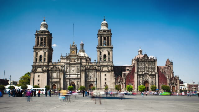 time lapse: cathedral metropolitana, mexico city - cathedrals stock videos & royalty-free footage