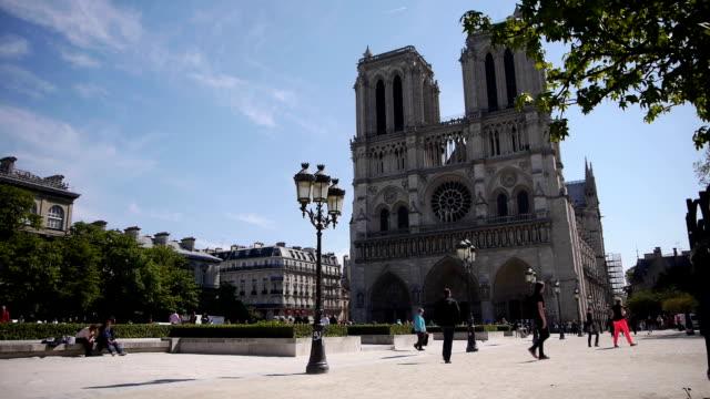 cattedrale di notre dame a parigi, francia - gargoyle video stock e b–roll