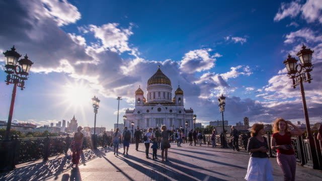 Cathedral of Christ the Saviour Time lapse. Moscow Landmark. Russia